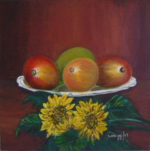 Manghi con girasoli [2007] - Acrilico su tela (50 x 50 cm)