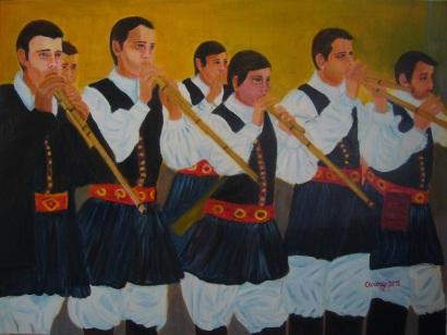 Suonatori di launeddas [2015] - Acrilico su tela Gallery (80 x 60)