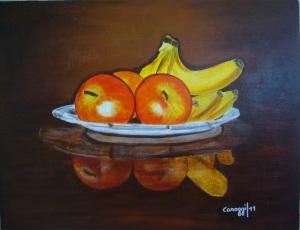 Vassoio di frutta [2011] - Acrilico su compensato (55,5 x 42,5 cm)