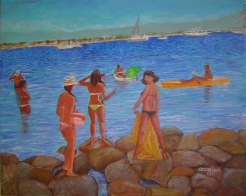 Vista sul Golfo degli Angeli [2017] - Acrilico su tela Gallery (100 x 80 cm)