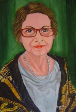 Donna con foulard (Autoritratto 2017) - Acrilico su tela (40 x 60 cm)